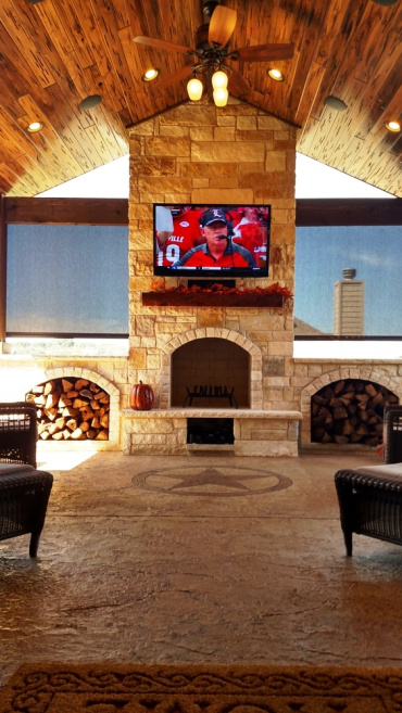 Custom Outdoor Fireplace in Covered Patio